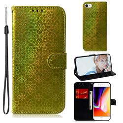 Laser Circle Shining Leather Wallet Phone Case for iPhone 8 / 7 (4.7 inch) - Golden