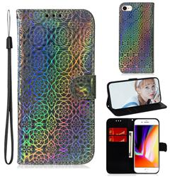 Laser Circle Shining Leather Wallet Phone Case for iPhone 8 / 7 (4.7 inch) - Silver