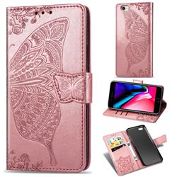 Embossing Mandala Flower Butterfly Leather Wallet Case for iPhone 8 / 7 (4.7 inch) - Rose Gold