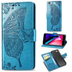 Embossing Mandala Flower Butterfly Leather Wallet Case for iPhone 8 / 7 (4.7 inch) - Blue