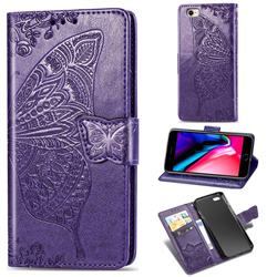 Embossing Mandala Flower Butterfly Leather Wallet Case for iPhone 8 / 7 (4.7 inch) - Dark Purple