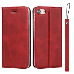 Calf Pattern Magnetic Automatic Suction Leather Wallet Case for iPhone 8 / 7 (4.7 inch) - Red