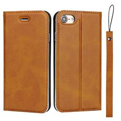 Calf Pattern Magnetic Automatic Suction Leather Wallet Case for iPhone 8 / 7 (4.7 inch) - Brown
