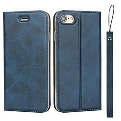 Calf Pattern Magnetic Automatic Suction Leather Wallet Case for iPhone 8 / 7 (4.7 inch) - Blue