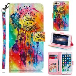 Flower Wind Chimes 3D Painted Leather Phone Wallet Case for iPhone 8 / 7 (4.7 inch)