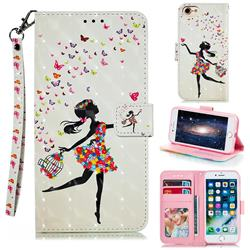 Flower Girl 3D Painted Leather Phone Wallet Case for iPhone 8 / 7 (4.7 inch)