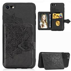Mandala Flower Cloth Multifunction Stand Card Leather Phone Case for iPhone 8 / 7 (4.7 inch) - Black