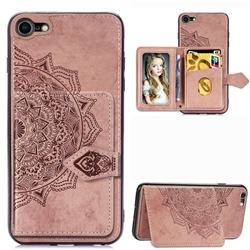 Mandala Flower Cloth Multifunction Stand Card Leather Phone Case for iPhone 8 / 7 (4.7 inch) - Rose Gold