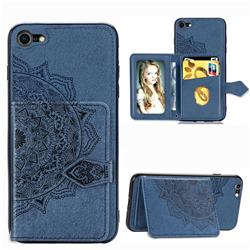 Mandala Flower Cloth Multifunction Stand Card Leather Phone Case for iPhone 8 / 7 (4.7 inch) - Blue