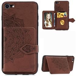 Mandala Flower Cloth Multifunction Stand Card Leather Phone Case for iPhone 8 / 7 (4.7 inch) - Brown
