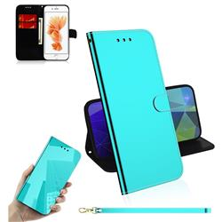 Shining Mirror Like Surface Leather Wallet Case for iPhone 8 / 7 (4.7 inch) - Mint Green