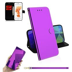 Shining Mirror Like Surface Leather Wallet Case for iPhone 8 / 7 (4.7 inch) - Purple