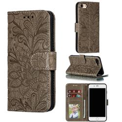 Intricate Embossing Lace Jasmine Flower Leather Wallet Case for iPhone 8 / 7 (4.7 inch) - Gray