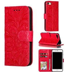 Intricate Embossing Lace Jasmine Flower Leather Wallet Case for iPhone 8 / 7 (4.7 inch) - Red