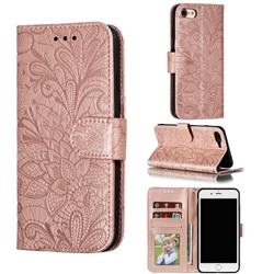 Intricate Embossing Lace Jasmine Flower Leather Wallet Case for iPhone 8 / 7 (4.7 inch) - Rose Gold