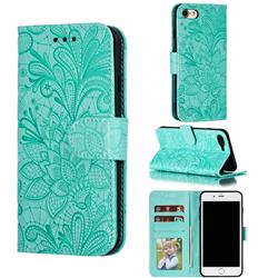 Intricate Embossing Lace Jasmine Flower Leather Wallet Case for iPhone 8 / 7 (4.7 inch) - Green
