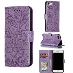 Intricate Embossing Lace Jasmine Flower Leather Wallet Case for iPhone 8 / 7 (4.7 inch) - Purple