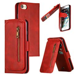 Multifunction 9 Cards Leather Zipper Wallet Phone Case for iPhone 8 / 7 (4.7 inch) - Red