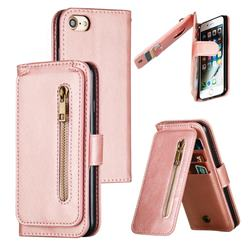 Multifunction 9 Cards Leather Zipper Wallet Phone Case for iPhone 8 / 7 (4.7 inch) - Rose Gold