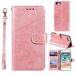 Embossing Geometric Leather Wallet Case for iPhone 8 / 7 (4.7 inch) - Rose Gold