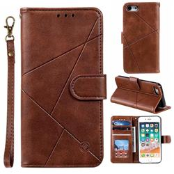 Embossing Geometric Leather Wallet Case for iPhone 8 / 7 (4.7 inch) - Brown