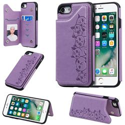 Yikatu Luxury Cute Cats Multifunction Magnetic Card Slots Stand Leather Back Cover for iPhone 8 / 7 (4.7 inch) - Purple