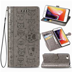 Embossing Dog Paw Kitten and Puppy Leather Wallet Case for iPhone 8 / 7 (4.7 inch) - Gray