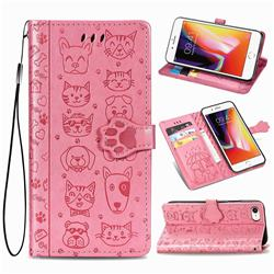 Embossing Dog Paw Kitten and Puppy Leather Wallet Case for iPhone 8 / 7 (4.7 inch) - Pink