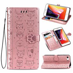 Embossing Dog Paw Kitten and Puppy Leather Wallet Case for iPhone 8 / 7 (4.7 inch) - Rose Gold