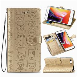 Embossing Dog Paw Kitten and Puppy Leather Wallet Case for iPhone 8 / 7 (4.7 inch) - Champagne Gold