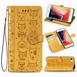 Embossing Dog Paw Kitten and Puppy Leather Wallet Case for iPhone 8 / 7 (4.7 inch) - Yellow