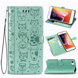 Embossing Dog Paw Kitten and Puppy Leather Wallet Case for iPhone 8 / 7 (4.7 inch) - Green