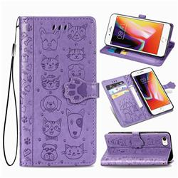 Embossing Dog Paw Kitten and Puppy Leather Wallet Case for iPhone 8 / 7 (4.7 inch) - Purple