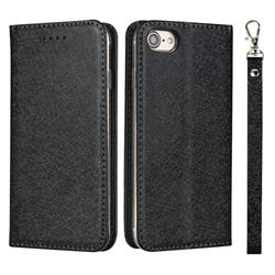 Ultra Slim Magnetic Automatic Suction Silk Lanyard Leather Flip Cover for iPhone 8 / 7 (4.7 inch) - Black
