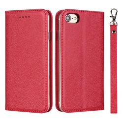 Ultra Slim Magnetic Automatic Suction Silk Lanyard Leather Flip Cover for iPhone 8 / 7 (4.7 inch) - Red
