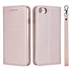 Ultra Slim Magnetic Automatic Suction Silk Lanyard Leather Flip Cover for iPhone 8 / 7 (4.7 inch) - Rose Gold