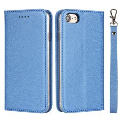 Ultra Slim Magnetic Automatic Suction Silk Lanyard Leather Flip Cover for iPhone 8 / 7 (4.7 inch) - Sky Blue