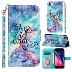 Blue Starry Sky 3D Leather Phone Holster Wallet Case for iPhone 8 / 7 (4.7 inch)