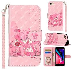 Pink Bear 3D Leather Phone Holster Wallet Case for iPhone 8 / 7 (4.7 inch)