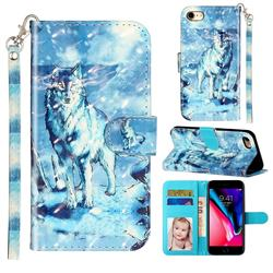 Snow Wolf 3D Leather Phone Holster Wallet Case for iPhone 8 / 7 (4.7 inch)