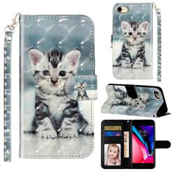 Kitten Cat 3D Leather Phone Holster Wallet Case for iPhone 8 / 7 (4.7 inch)