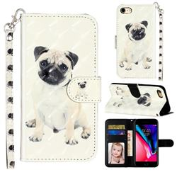 Pug Dog 3D Leather Phone Holster Wallet Case for iPhone 8 / 7 (4.7 inch)