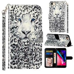 White Leopard 3D Leather Phone Holster Wallet Case for iPhone 8 / 7 (4.7 inch)