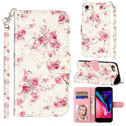 Rambler Rose Flower 3D Leather Phone Holster Wallet Case for iPhone 8 / 7 (4.7 inch)