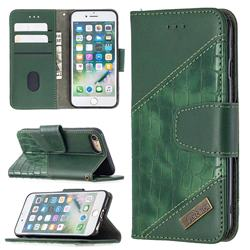 BinfenColor BF04 Color Block Stitching Crocodile Leather Case Cover for iPhone 8 / 7 (4.7 inch) - Green