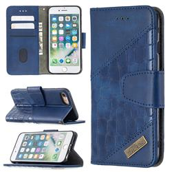 BinfenColor BF04 Color Block Stitching Crocodile Leather Case Cover for iPhone 8 / 7 (4.7 inch) - Blue