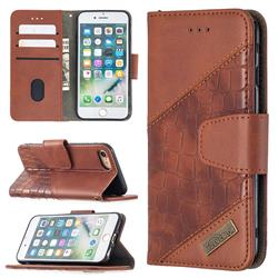 BinfenColor BF04 Color Block Stitching Crocodile Leather Case Cover for iPhone 8 / 7 (4.7 inch) - Brown