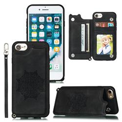 Luxury Mandala Multi-function Magnetic Card Slots Stand Leather Back Cover for iPhone 8 / 7 (4.7 inch) - Black