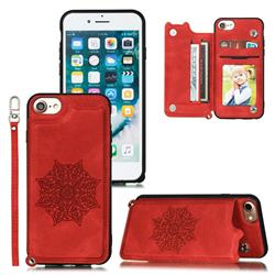 Luxury Mandala Multi-function Magnetic Card Slots Stand Leather Back Cover for iPhone 8 / 7 (4.7 inch) - Red
