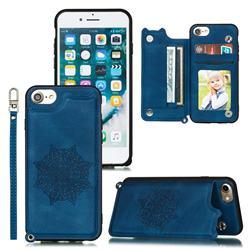 Luxury Mandala Multi-function Magnetic Card Slots Stand Leather Back Cover for iPhone 8 / 7 (4.7 inch) - Blue
